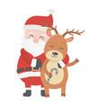 santa embraced reindeer celebration merry vector image