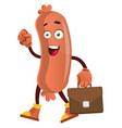 sausage with suitcase on white background vector image vector image