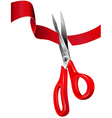 Scissors Cutting the Red Ribbon vector image vector image