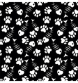 seamless cats paw and fish pattern vector image vector image