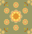 Seamless flower and petals on green background vector image vector image