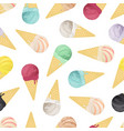 seamless pattern of ice cream in cones vector image