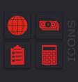 set calculator earth globe stacks paper money vector image vector image