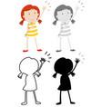 set girl character vector image vector image
