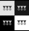 set medal icon isolated on black white and vector image