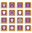 shield frames icons set purple vector image vector image