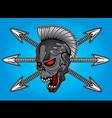 smiling skull arrow punk design vector image