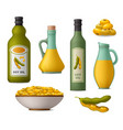 soy oil and soy beans icons set vector image vector image