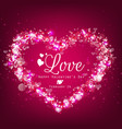 sparkle bright background with pink heart vector image vector image