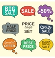 speech bubbles collection set with price tags vector image