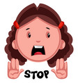 stop girl emoji on white background vector image vector image