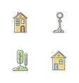 suburban life rgb color icons set vector image