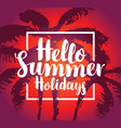 summer tropical banner with palms at sunset vector image vector image