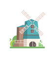traditional rural windmill building with blue vector image