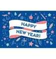 Trendy ribbon and text Happy New Year
