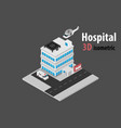 3d isometric hospital with helicopter and vector image vector image