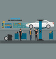 auto repair shop interior with mechanics or vector image