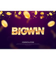 big win gold sign banner for gambling vector image vector image