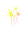 bitcoin coin with fast speed firework abstract vector image vector image