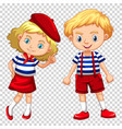 boy and girl on transparent background vector image vector image