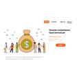 business team near money bag wealth growth vector image vector image
