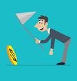 businessman running for the coin vector image vector image