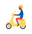 cartoon african man driving a yellow scooter vector image vector image