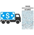 Cash Delivery Icon with 1000 Medical Business vector image vector image
