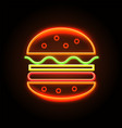 cheeseburger neon sign poster vector image vector image