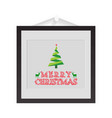 christmas frame with typographic and tree vector image