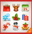 Christmas icon set-3 vector image vector image