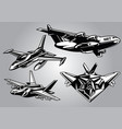 collection of modern military aircraft vector image vector image