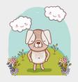 cute dog doodle cartoon vector image vector image