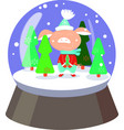 cute pig in snowball with falling snowflakes and vector image