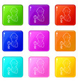 fisherman icons set 9 color collection vector image vector image