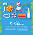 flat summer vacation time background vector image