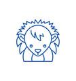 funny hedgehog line icon concept funny hedgehog vector image vector image