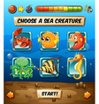 Game template with sea animals vector image vector image