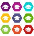 graduation cap icons set 9 vector image vector image