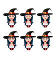 happy halloween face expressions of sexy witch vector image vector image