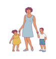 happy mother standing with two baby vector image vector image