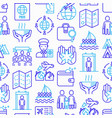 immigration seamless pattern with thin line icons vector image
