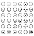 lineart cute emoticon smile emoji icons set vector image
