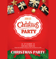 merry christmas party and gift box on red vector image vector image