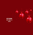 new year polygonal red balls background of vector image