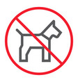 no dog line icon prohibition and forbidden vector image vector image