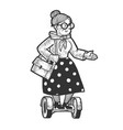 old woman rides on hoverboard sketch vector image