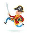 pirate captain character running away vector image vector image