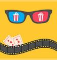 popcorn 3d glasses film strip border tickets pop vector image