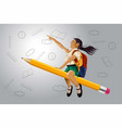 printhappy school kid riding a flying pencil vector image